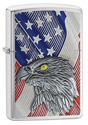 Zippo Lighter: Eagle Emblem and American Flag - Brushed Chrome 29508
