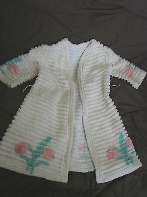 Vintage 50s Girls Childs Bathrobe CHENILLE Roses Robe 4-5 Cotton