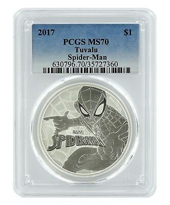 2017 Tuvalu Spiderman 1oz Silver Coin PCGS MS70 - Blue Label