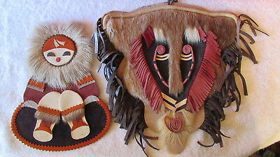 Lot 2 Fur & Leather Native Indian Figure Wall Hanging Decoration Decor