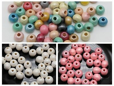 200 Shiny Pearlized Luster Wood Beads 8mm Spacer Color for Choice Jewelry Craft