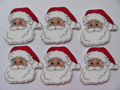 BB FLATBACKS planar SANTA FACE pk of 6 CHRISTMAS XMAS flatback hair bows