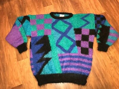Vtg 80s Womens Large SOFT OPTIONS Mohair England neon Fresh Ski Cosby Sweater L