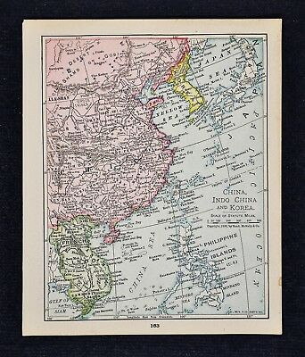 1900 McNally Map China Japan Korea Siam French Indo China Hong Kong Taiwan Asia