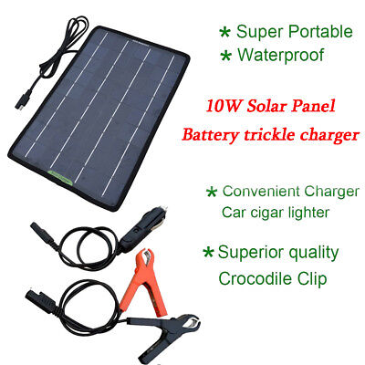 12V 10W Power Solar Panel Trickle Battery Charger for Car SUV Truck Boat Camping
