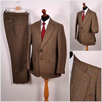 Vintage Guards Thornproof Derby Tweed Wool Mens Suit Jacket Trousers Check S M