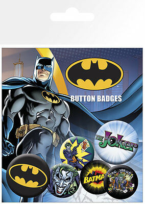 Button Badge 6er Pack BATMAN - 2x 32mm & 4x 25mm Logo, Joker NEU