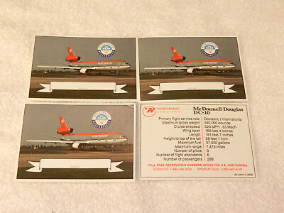 Northwest Airlines Pilot Aircraft Photo cards    Four (4)  MD   DC-10 cards