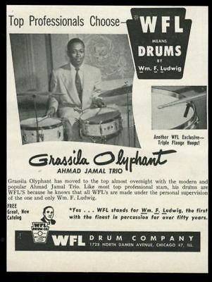 1953 Grassila Olyphant photo WFL Ludwig drum set vintage print ad