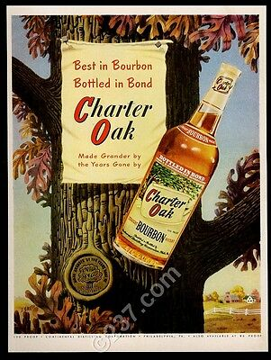 1951 Charter Oak Bourbon whiskey bottle photo vintage print ad