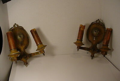 1920's Classical Nouveau Pair Wall Sconces Painted Tulips