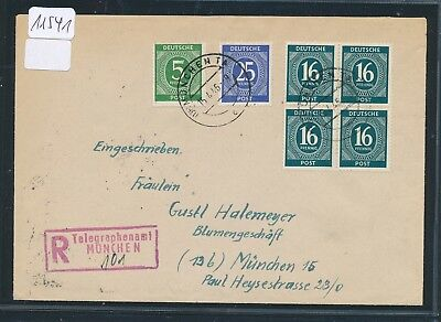 11541)  roter R-Stempel Telegraphenamt MÜNCHEN mit hs Nr, Orts-Reco-Brief 1946