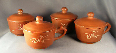SET of 4 VTG CHINESE YIXING TEACUPS W/LIDS INCISED CHARACTERS MADE IN CHINA