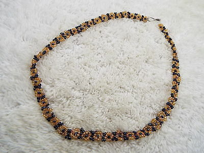 Gold & Gray Micro Bead Flower Necklace (D8)