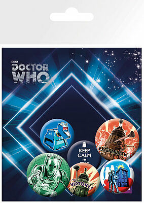Button Badge 6er Pack DOCTOR WHO Retro - 2x 32mm & 4x 25mm Keep Calm, Dalek NEU