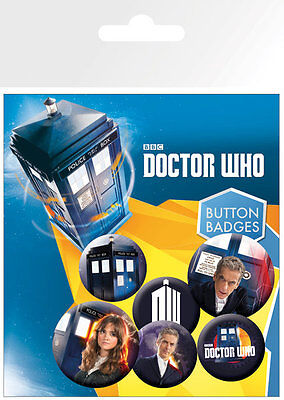Button Badge 6er Pack New DOCTOR WHO - 2x 32mm & 4x 25mm Tardis NEU