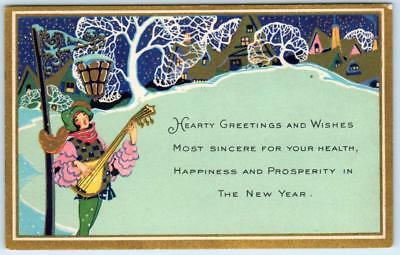 HEARTY GREETINGS in the New Year   ARTS and CRAFTS  ca 1910s   Postcard