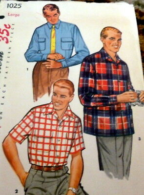 *VTG 1950s MENS SHIRT Sewing Pattern LARGE CHEST 42-44