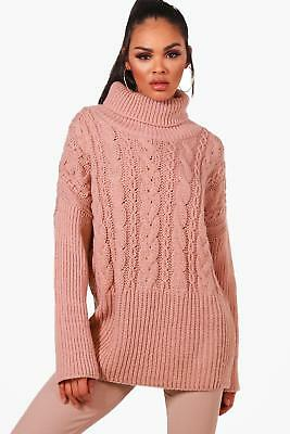 b4a98023a58a52 BOOHOO WOMENS ROLL Neck Cable Knit Jumper in Nude size S - $34.00 ...