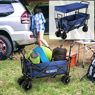 Foldable Utility Wagon Collapsible Trolley Cart Outdoor Beach Sporting 220IBs