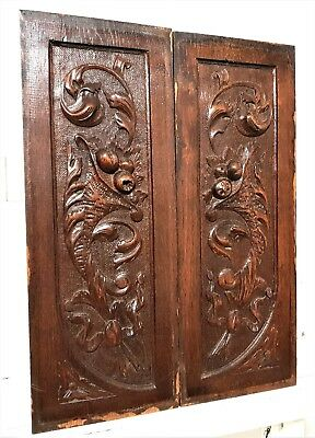 Pair scroll leaves panel Solid antique french carved wood architectural salvage