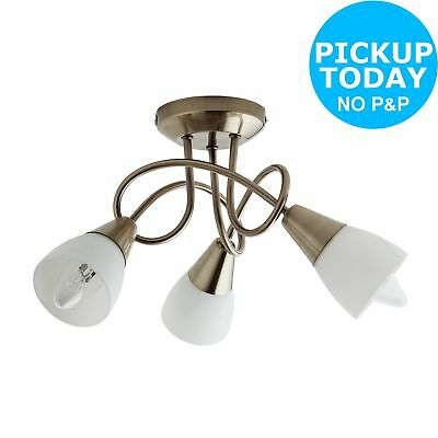 Argos Home Curico 3 Light Glass Ceiling Light -Antique Brass