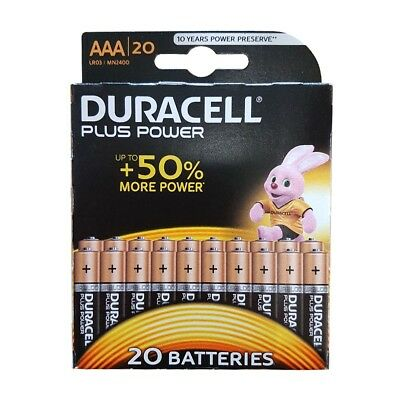 20 Pack of Duracell Plus Power AAA Batteries 1.5V Alkaline MN2400 LR03 AAA