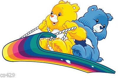 "5"" Care bears rainbow sled wall safe sticker border cut out character"