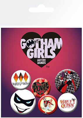 Button Badge 6er Pack GOTHAM GIRLS - Harley Quinn 2x 32mm & 4x 25mm NEU BP0630