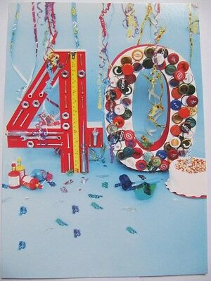 Wonderful Colourful Decorated 40 Glossed 40Th Birthday Greeting Card