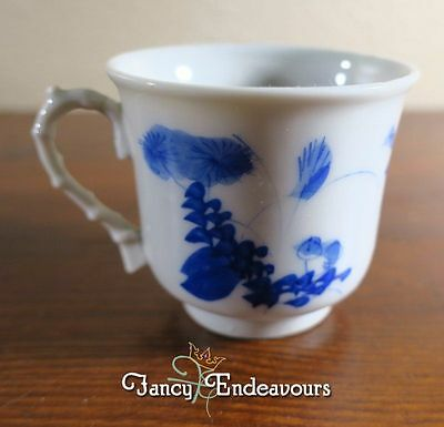 1890 to 1915 Japanese Seto Porcelain Blue and White Bamboo Handle Cup
