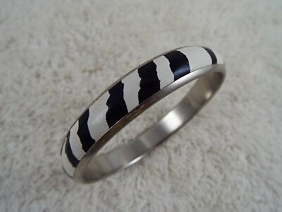 Silvertone Black White Zebra Print Bangle Bracelet (C25)