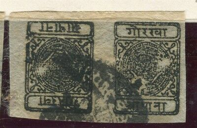 NEPAL; 1899-1903 classic Local Imperf issue TETE-BECHE Pair 1/2a. fine used