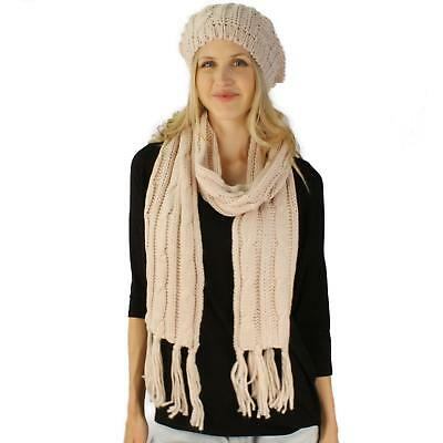 Ladies 2pc Winter Chunky Soft Knit Beret Beanie Tam Hat Long Scarf Ski Set Beige