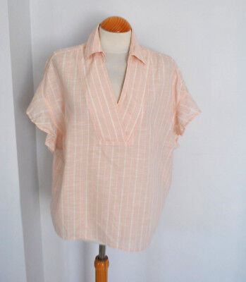e123f2bfbe1440 Ladies BNWT H&M LOGG Pink Striped Collared Short Sleeve Cotton Blouse Boxy  14