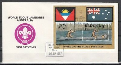Redonda-Antigua, 1987 issue. Scout Jamboree s/sheet. First day cover.