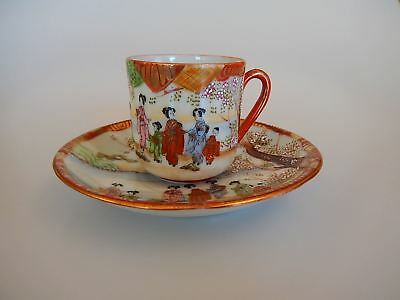 Japanese Geisha Fine Hand Painted Cup and Saucer Red Mark Early 20th Century