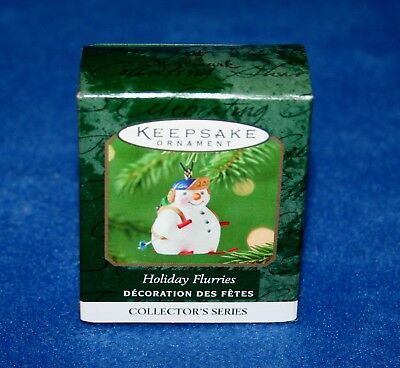 "Hallmark 2001 ""holiday Flurries"" Skiing Snowman Miniature Keepsake Ornament (Nib"
