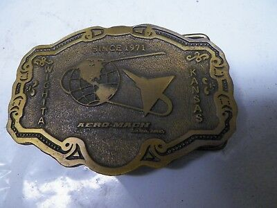 Old Brass Belt Buckle Wichita Kansas Aero-Mach Labs