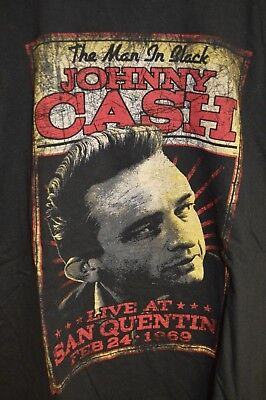 Mens Johnny Cash Live At San Quentin RETRO Graphic T-Shirt XL Man in Black