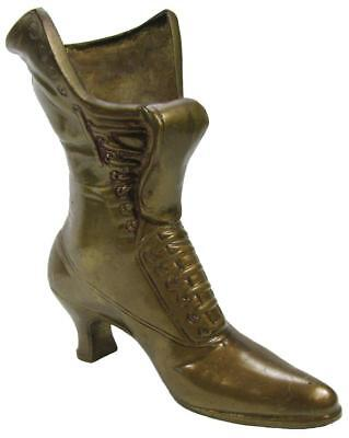 Brass Boot Victorian Ladies Shoe Jardiniere Vase Umbrella Holder 23.5 cm / 9¼""