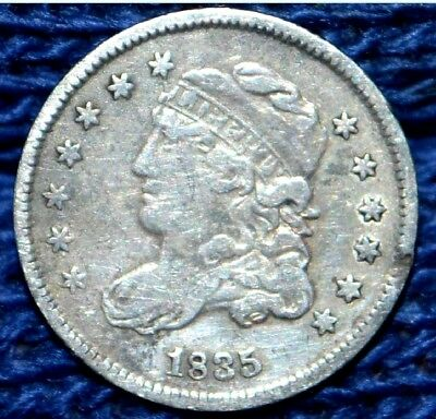 1835 Capped Bust Half Dime ** Small Date Large 5 C. ** VF/XF details