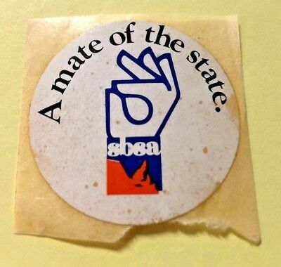 VINTAGE 1970's SBSA A mate of the state Die-cut Sticker State Bank of SA - FC