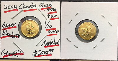 2014 As Shown .9999 Canada Gold 1/10 Oz Maple Leaf-Great Bullion Coin For Price