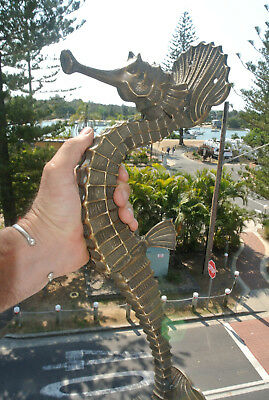 "USED massive 21"" Solid Brass aged finish heavy SEAHORSE Door HANDLE PULL 55cm B"