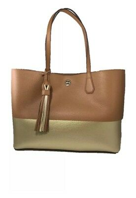 863c7f4ddcf Tory Burch Color Block Perry Tote New Auth Leather Handbag Bark Gold Bag   450