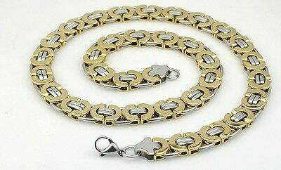 11mm Mens Boys Chain Flat Byzantine Stainless Steel Necklace Silver Gold Black