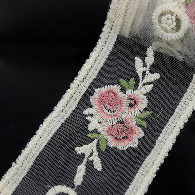 2 Yards Floral Embroidered Tulle Sewing Lace Trim Wedding Dress Doll