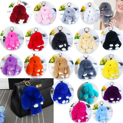 Pom Poms Keychain Bag Doll Fur Cute Bunny Rabbit Rex Ring Handbag Ball Pendant