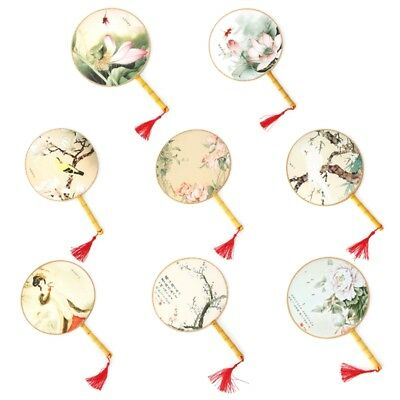 1pcs Chinese Style Round Hand Held Folding Silk Fan Wedding Event Party Supplies